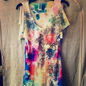Pinky large v neck tattoo design vibrant dress EUC